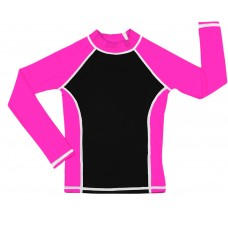 Black / Pink UV Long Sleeve Swim Shirt